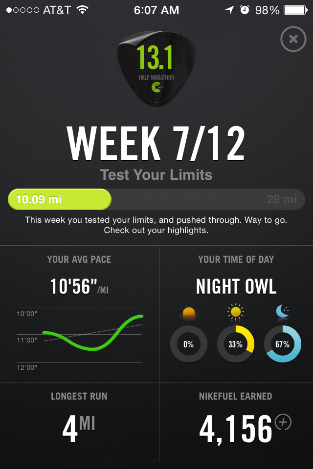 nike+ half marathon training