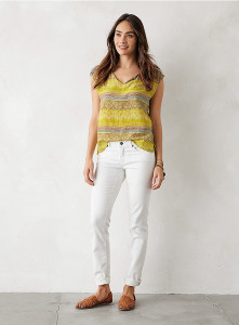 Lightweight 80% organic cotton top with lacey shoulders and soft stretch denim!